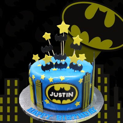 Blue & Yellow Batman Cake