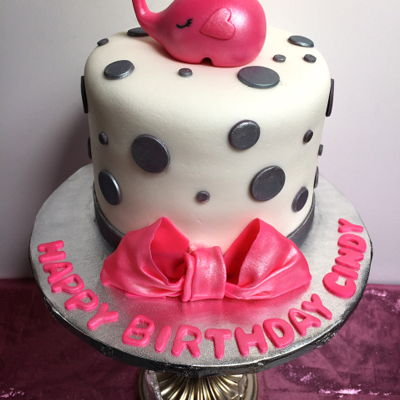 Pink Elephant Theme Birthday Cake