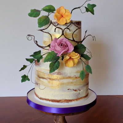 Semi Naked Cake With Fall Sugarflowers