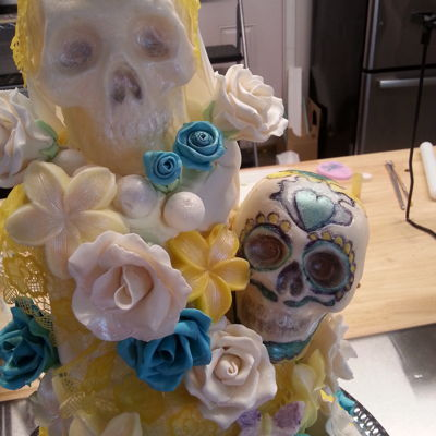 Til Death Do Us Part My version of the Til Death Do Us Part Cake. Lots of gum paste roses, edible lace, draped fondant and molded candy skulls. I actually made...