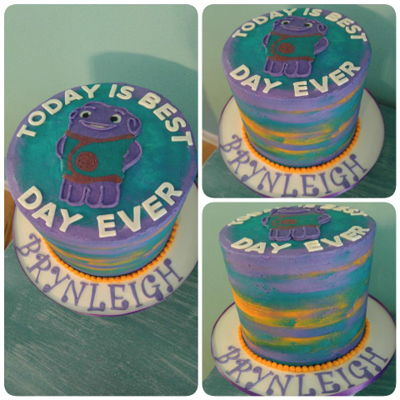 Watercolor Boov Cake Double barrel, over 8 inches tall!