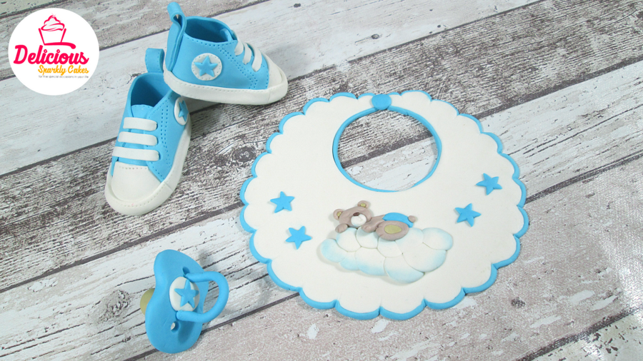 Bib, Dummy And Converse Shoes Out Of Fondant For A Christening Cake on Cake Central