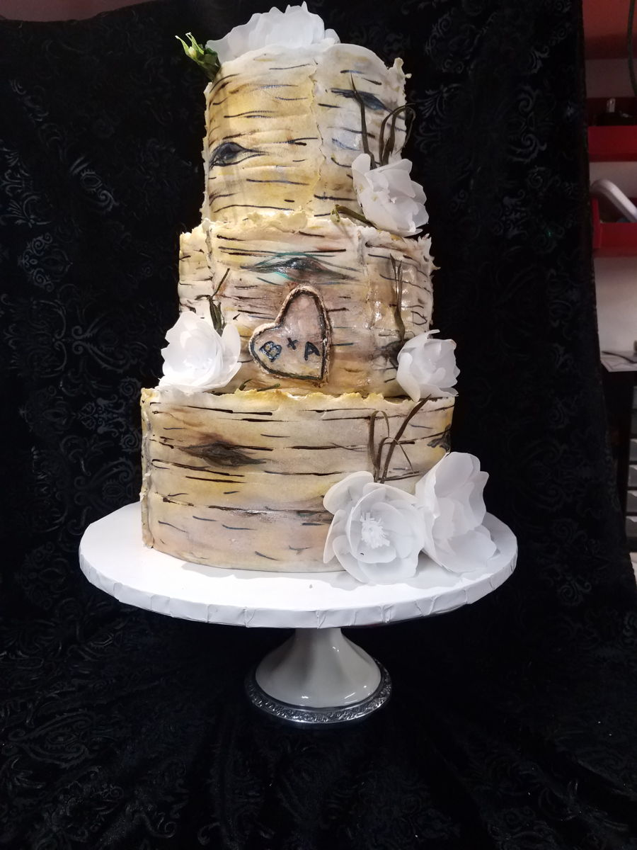 Birch Wedding Cake on Cake Central
