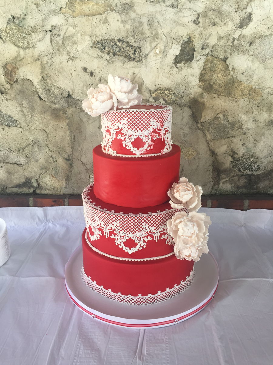 Bold Red And Delicate Lace Wedding on Cake Central