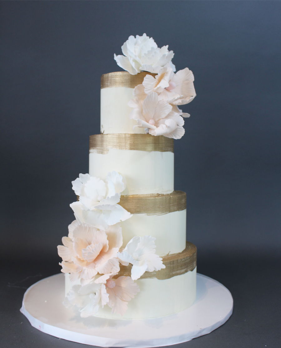 Ivory Butter Cream Wedding Cake Gold Painted With Gumpaste Fantasy Flowers On Central