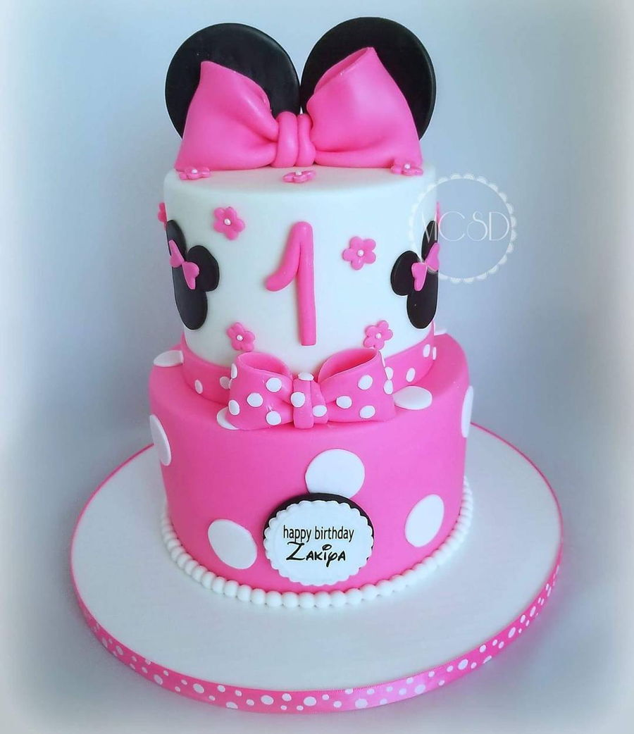 Swell Minnie Mouse 1St Birthday Cake Cakecentral Com Funny Birthday Cards Online Unhofree Goldxyz
