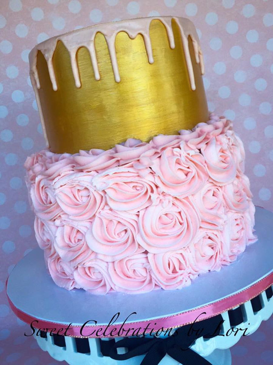 Pink/gold 2 Tier Cake on Cake Central
