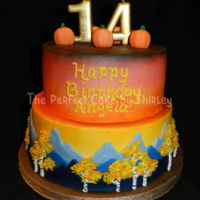 Aspen/mountains Fall Cake This was my daughter's birthday cake this year. She always designs her cake, and I have to figure out how to make it! This year she...