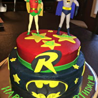 Batman And Robin Buttercream with Fondant Embellishments. Toys dolls provided by mom