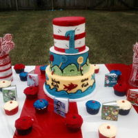 Dr Suess 1St Birthday ALL BUTTER CREAM WITH FONDANT ACCENTS HAT COMES OFF AS SMASH CAKE