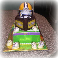 Lsu Groom's Cake Groom Cake. Buttercream with white chocolate covered strawberry jersey's