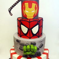 Marvel Avengers Marvel Avengers Cake. Fondant with fondant details, the hulk hand is made from Molding chocolate and the Thor hammer is RKT covered in...