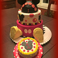 Mickey Mouse Ears, tail and other embellishments are fondant; Feet are Rice Krispie Treats covered with Fondant. Frosted with Red, white and black...