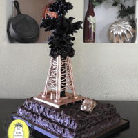 Oil Derrick Groom's Cake I found the inspiration for this cake design from a clay sculptor named Scott Rogers. I seen the image and instantly thought….C-...
