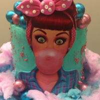 Pin-Up Girl Bubble Gum Cake Gluten free vanilla cake with vanilla buttercream and lemon curd filling. Image is not edible and was attached to fondant to make a sturdy...