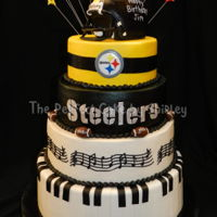 Pittsburgh Steelers/music Cake This was a cake for a 50th birthday, incorporating his love of the Steelers and music. I just learned how to do make cake lace, so I used...