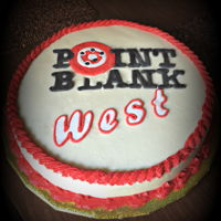 Point Blank I made this for the first anniversary for a local Shooting Range. Spice Cake with Crusting Cream Cheese frosting, Fondant Lettering