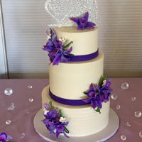 Purple Orchid Wedding Cake ALL BUTTERCREAM WITH GUMPASTE ORCHIDS