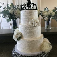 Rustic Buttercream Wedding Cake W/ Fresh Flowers White & Ivory 3 Tier Beach Wedding Cake