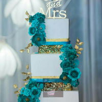 Shades Of Turquoise Different shades of and turquoise and different types of sugar flowers