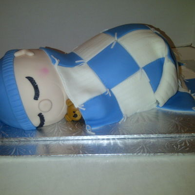 Baby Shower For A Boy An odd request but did it anyway.Cake carved to resemble baby under a blanket.All vanilla. Fondant covered.Client loved it.