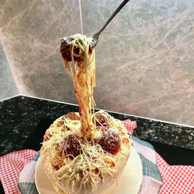 Bowl Of Pasta And Meatballs Gravity Defying Cake
