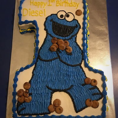 Cookie Monster First Birthday WASC cake with buttercream and mini chocolate chip cookies