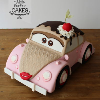 Meet Miss Lovebug. A Remote Control Vw Beetle Cake By Nina Blackburn Vrooooom, vroom! Meet Miss Lovebug. Dedicated to ice cream trips in our family VW Beetle. Watch the video of her move on my FB page. xoxo