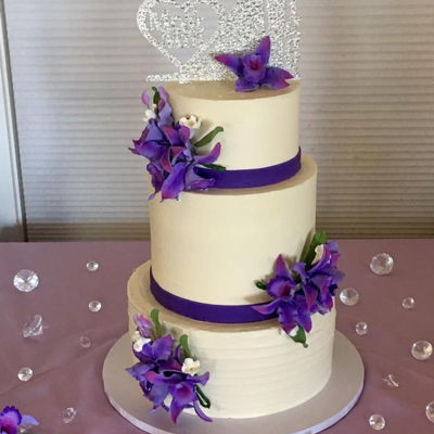 Purple Orchid Wedding Cake on Cake Central