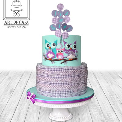 Teal And Purple Owl Baby Shower Cake Wafer paper frills bottom and fondant 2 tier. Made this cake for my friend's baby shower :)