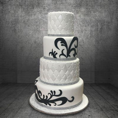 White Tiers With Black Stencil White Tiers with Black Stencil