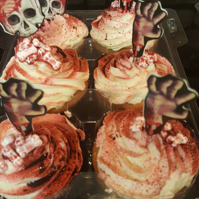 Zombie Cupcakes My son wanted zombies, so these are peanut butter cake with white chocolate cream cheese icing