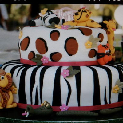 Zoo Cake Two tier fondant zebra and Leppard print with hand made fondant zoo animals