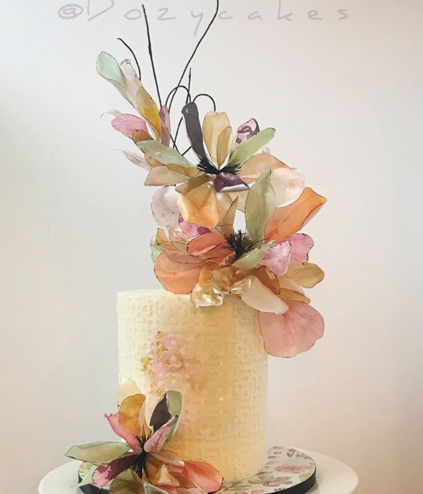 Small Wedding Cake With Colorful Wafer Paper Flowers