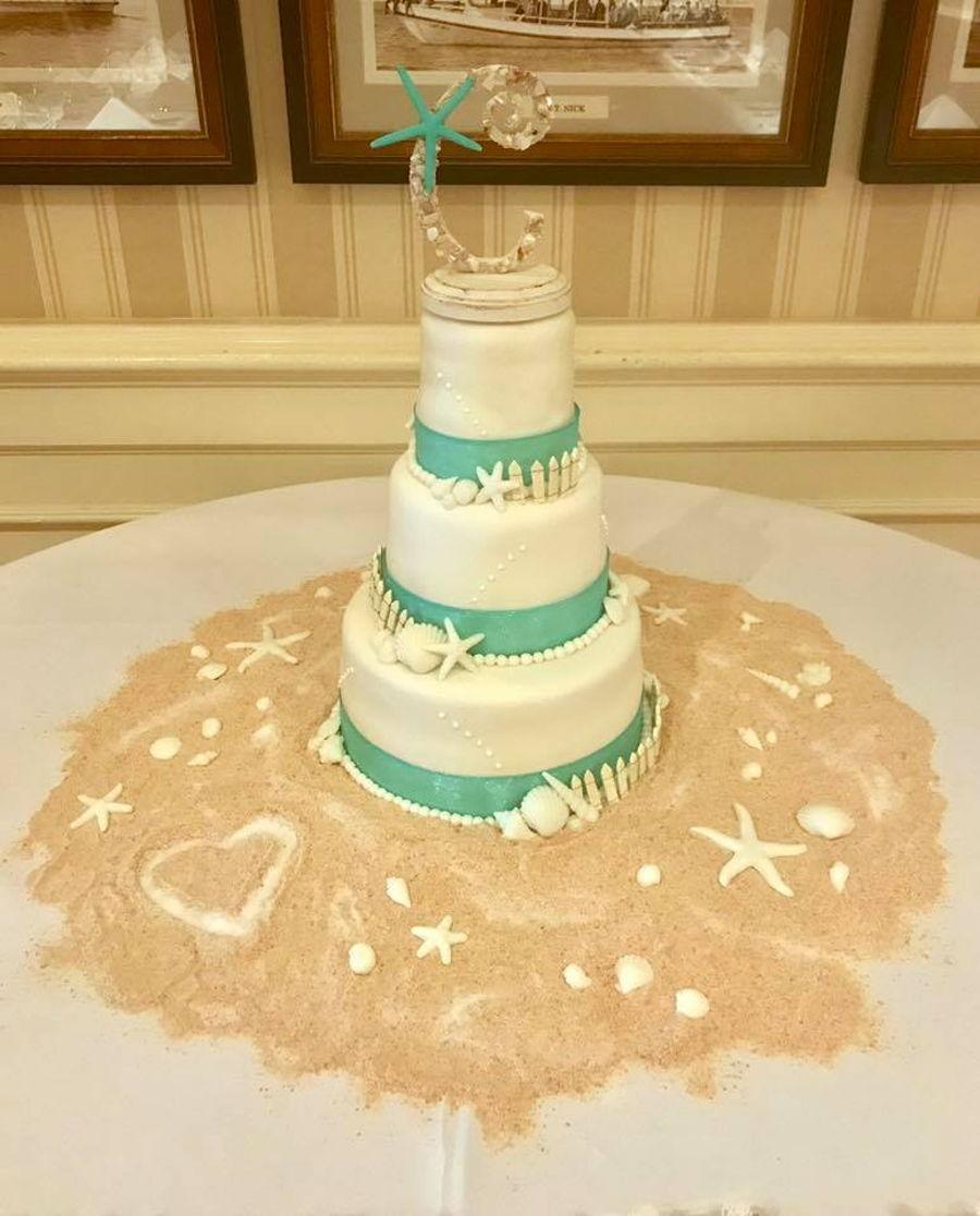 Beach Themed Wedding Cake - CakeCentral.com