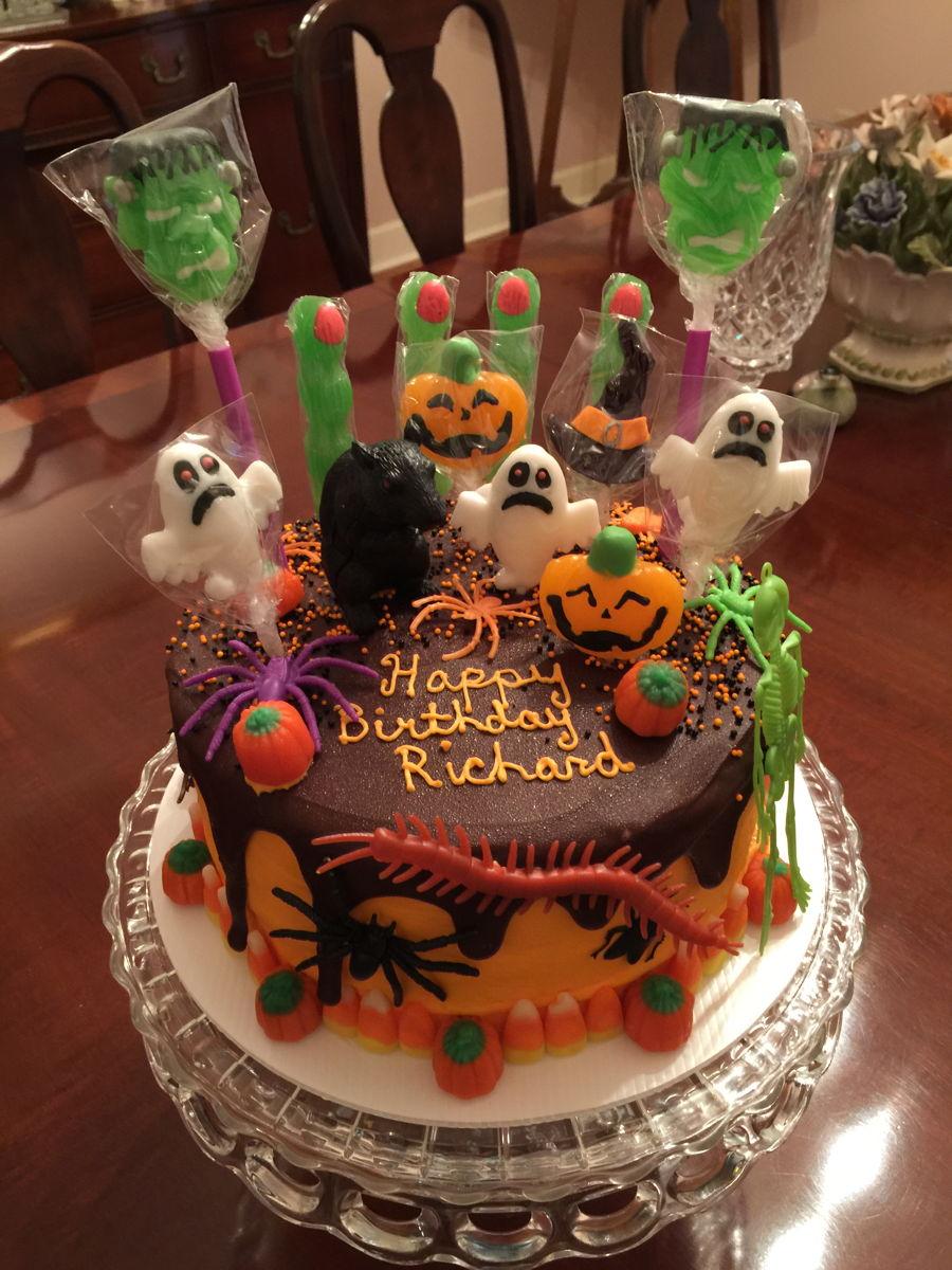 Halloween Birthday Candy Drip Cake CakeCentralcom