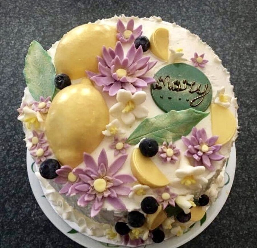 Lemon Blueberry Birthday Cake CakeCentralcom
