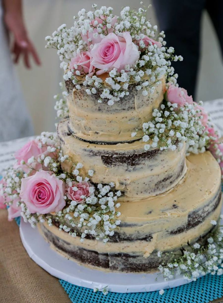 Naked Wedding Cake With Pink Roses Cakecentral