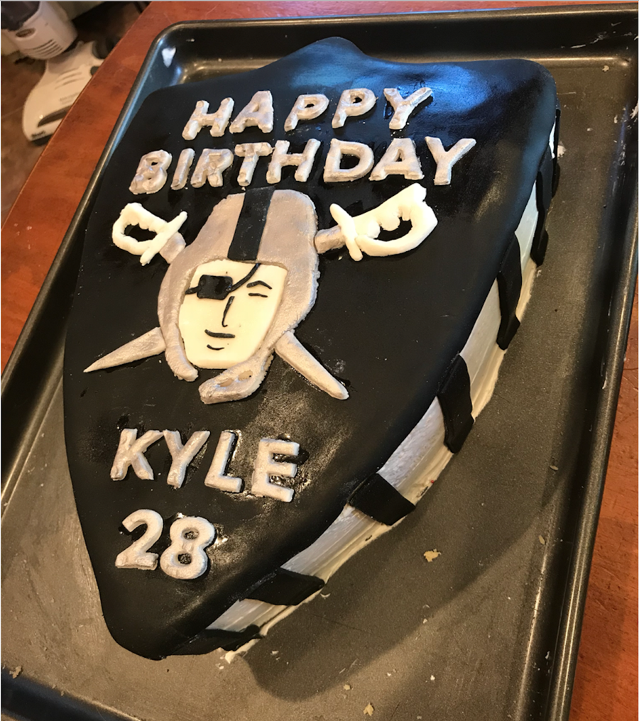 Oakland Raiders Cake Baked 2 Cakes In A Parrish Magic Line Oblong Pan 9 X 13 Then Cut Out The Logo Shape Free Hand Homemade Buttercream But I