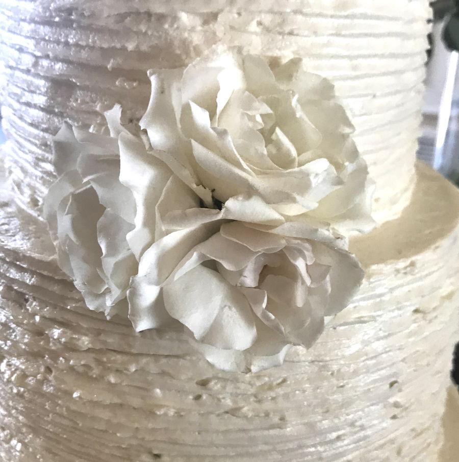 Rustic Buttercream Wedding Cake W/ Fresh Flowers - CakeCentral.com