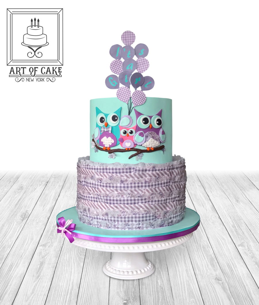 Teal And Purple Owl Baby Shower Cake On Cake Central