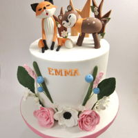 Boho Nordic Cake For Emma This double barrel cake was made for Emma 9th birthday party with sugar modelled animals on top and ssome sugar flowers.