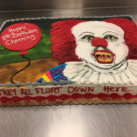 Buttercream Clown Cake Full sheet cake decorated with buttercream and airbrush