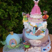 Cinderella Cake Cake made with cocoa sponge cake with milk bath, double filling layer with chantilly cream and dark chocolate shavings covered with dark...