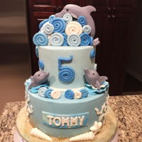 Dolphin Cake Cute fondant cake with modeling chocolate/fondant dolphins, modeling chocolate waves around the base of the dolphins and fondant swirls