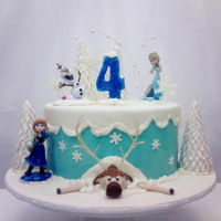 Frozen Theme Party SM Buttercream cake. Sculpted moose and gumpaste decorations.