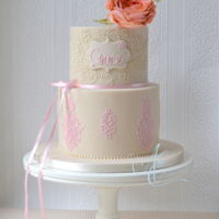 Grace. Christening cake topped with 'Grace' sugar David Austin rose. The lace brush embroidery and hand piping match the...