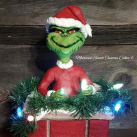 Grinch Cake Sculpted Grinch with chimney cake!!