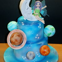 Little Fairy In Space Chocolate mud cake - vanilla cake