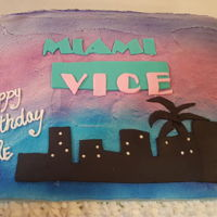 Miami Vice Birthday Cake Cake for an 80's nut! Yellow cake with vanilla buttercream with fondant accents and airbrush background